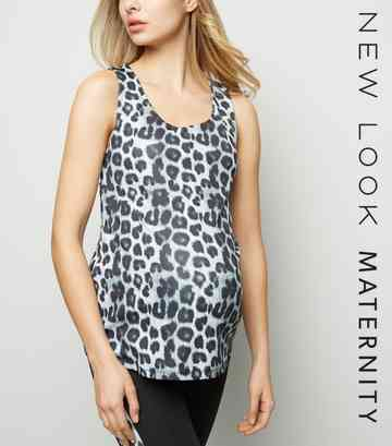 Maternity Grey Leopard Print Sports Vest Top