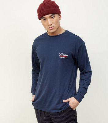 Navy Michigan Embroidered Long Sleeve T-Shirt