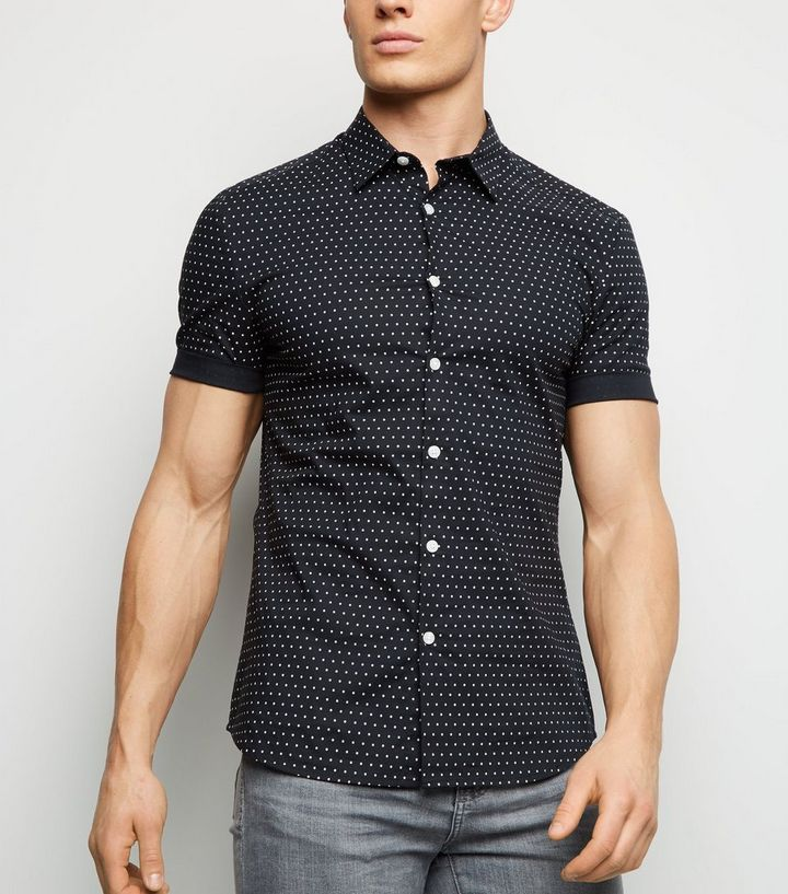 Navy Polka Dot Muscle Fit Shirt Add to Saved Items Remove from Saved Items