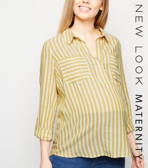 ce124dc3906 Maternity Mustard Stripe Overhead Shirt · Maternity Mustard Stripe Overhead  Shirt ...