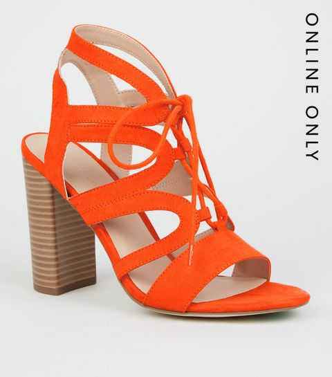 c46f23fea52 ... Orange Suedette Lace Up Ghillie Block Heels ...