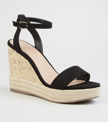 Black Suedette Espadrille Trim Cork Wedges