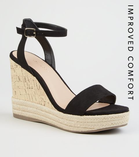 34b3abc28ccb ... Black Suedette Espadrille Trim Cork Wedges ...