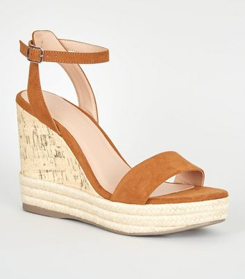 Tan Suedette Espadrille Trim Cork Wedges