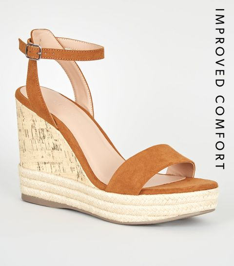 f2c90df5139 ... Tan Suedette Espadrille Trim Cork Wedges ...