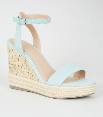 Mint Green Suedette Espadrille Trim Cork Wedges