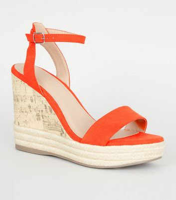 Orange Suedette Espadrille Trim Cork Wedges