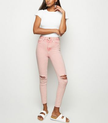 Pink Acid Wash High Waist Super Skinny Jeans