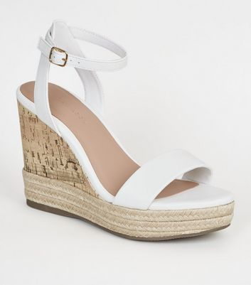 White Espadrille Trim 2 Part Cork Wedges