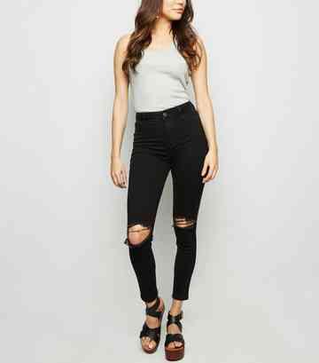 52d47367f52480 Black Ripped Super Skinny Hallie Jeans ...