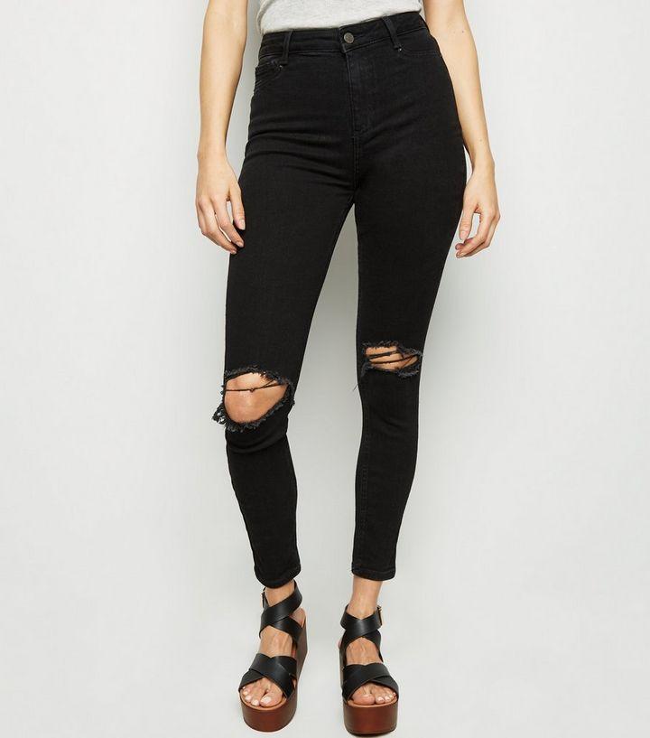 ed73362731e1af Black Ripped Super Skinny Hallie Jeans | New Look