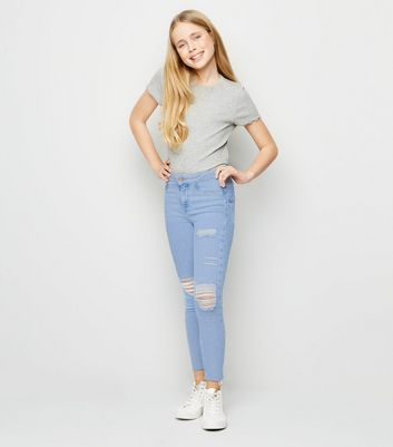 Girls – Blaue, zerrissene High Waist Skinny Jeans in ausgebleichter Optik