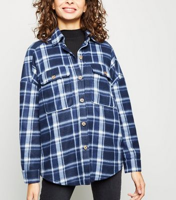Blue Check Fleece Oversized Shirt