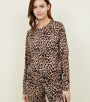 Brown Leopard Print Soft Touch Pyjama Sweatshirt