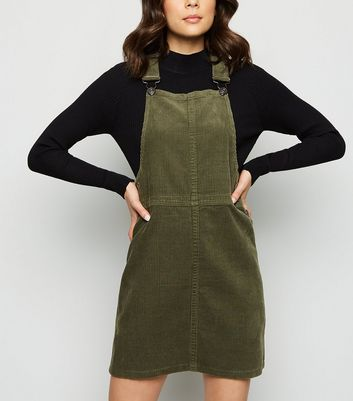 Khaki Corduroy A-Line Pinafore Dress