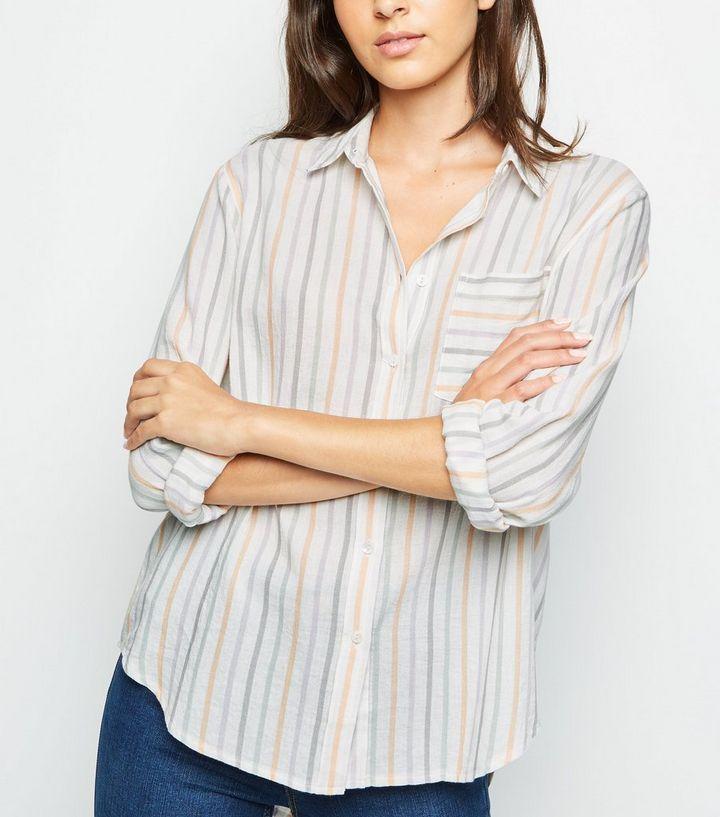 3aa027a126 White Multi Stripe Long Sleeve Striped Shirt | New Look