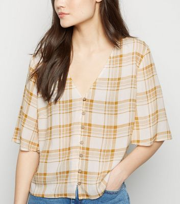 Mustard Check Flare Sleeve Blouse