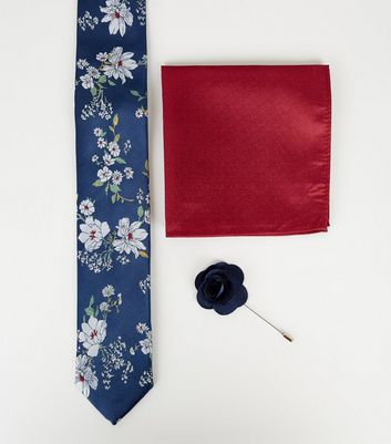 Navy Floral Tie Handkerchief and Pin Set