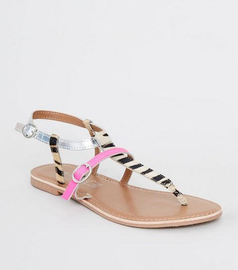 f7024dce7ade61 ... Black Leather Zebra Print Strap Sandals ...