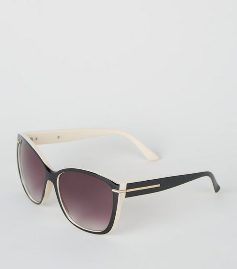 aa262ebd46 ... Black and Cream Contrast Rectangular Sunglasses ...