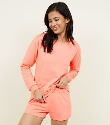 Coral Neon Jersey Lounge Set