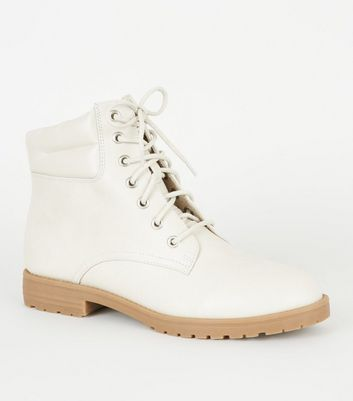 Off White Leather-Look Hiker Boots