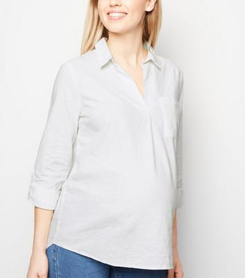 Maternity White Linen Blend Overhead Shirt