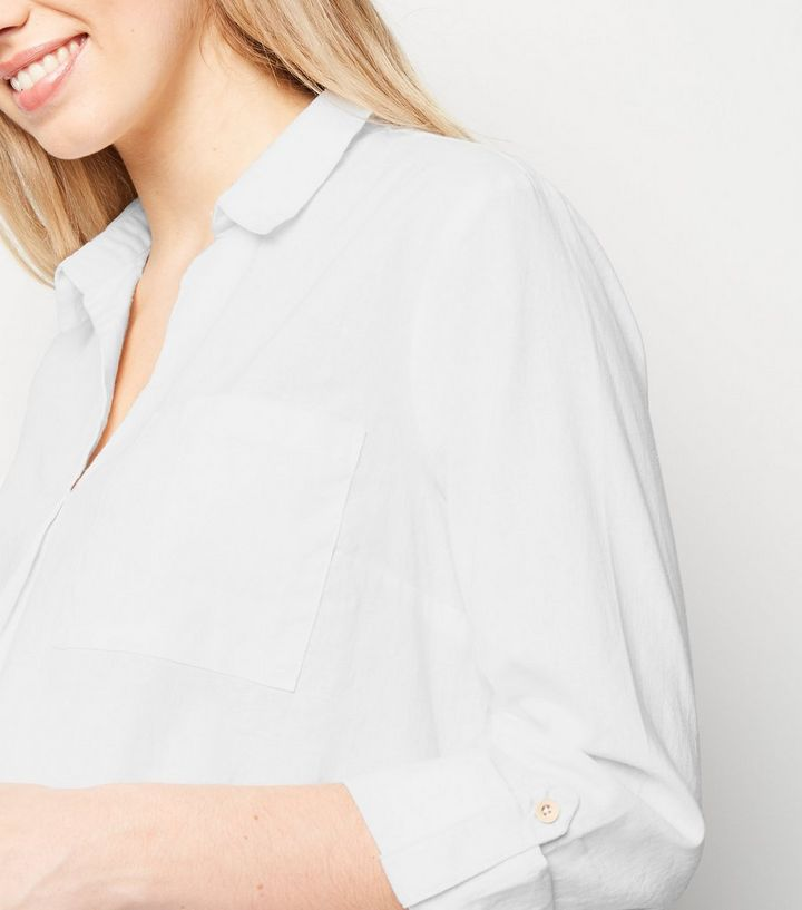 83733033d5e3fb ... Maternity White Linen Blend Overhead Shirt. ×. ×. ×. Shop the look