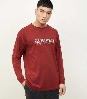 Red San Francisco Slogan Long Sleeve T-Shirt