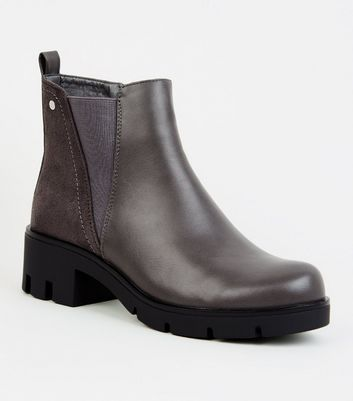 Grey Leather-Look Chunky Chelsea Boots