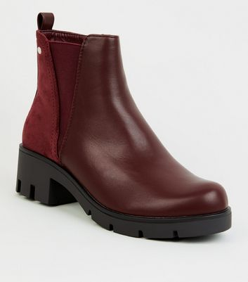 Dark Red Leather-Look Chunky Chelsea Boots