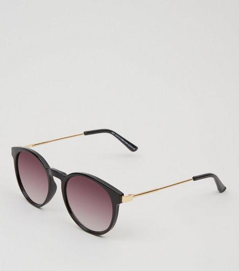 947d23e81022d ... Black Rounded Metal Temple Sunglasses ...