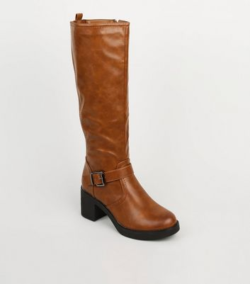 Tan Leather-Look Chunky Knee High Boots