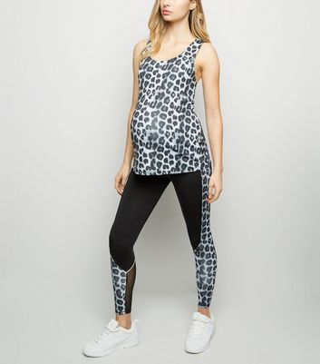 Light Grey Leopard Print Sports Leggings