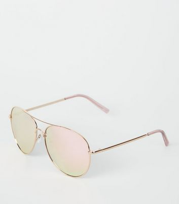 Rose Gold Mirrored Pilot Sunglasses