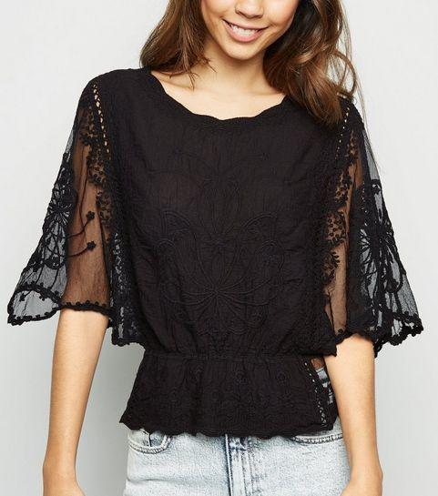 ... Black Crochet Mesh Sleeve Peplum Blouse ... 22d88de677d
