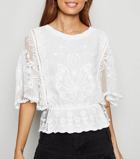b0fe2710d63a8 ... White Crochet Mesh Sleeve Peplum Blouse ...