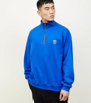 Bright Blue Globe Emblem 1/2 Zip Funnel Sweatshirt
