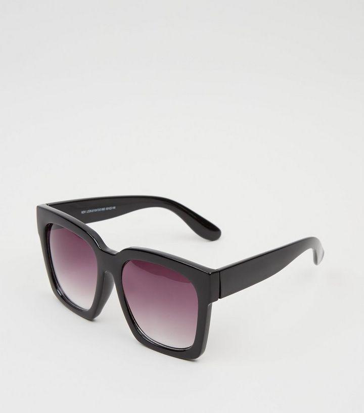 1609dcfcb63cc Black Oversized Rectangular Sunglasses