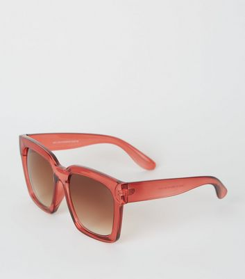 Red Oversized Rectangular Sunglasses