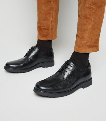 Black Chunky Sole Derby Shoes