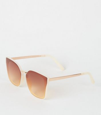 Cream Oversized Rimless Sunglasses