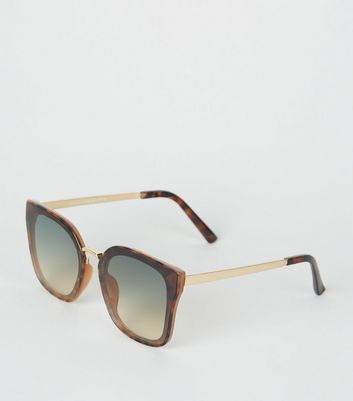 Dark Brown Oversized Rimless Sunglasses