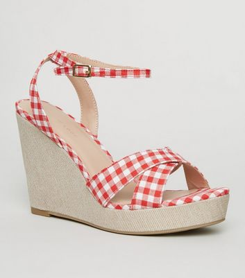 Red Gingham Cross Strap Wedges