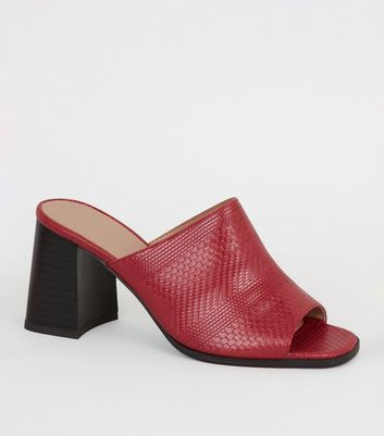 Red Woven Flared Block Heel Mules
