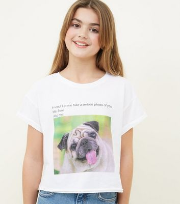 Girls White Pug Photographic Slogan T-Shirt