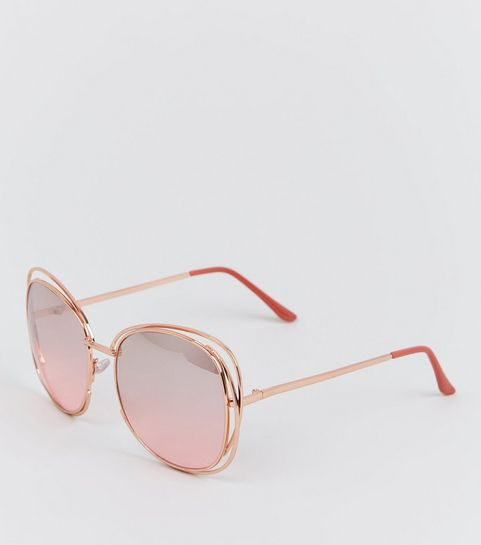 9ca7b721c0 ... Rose Gold Rim Bar Sunglasses ...