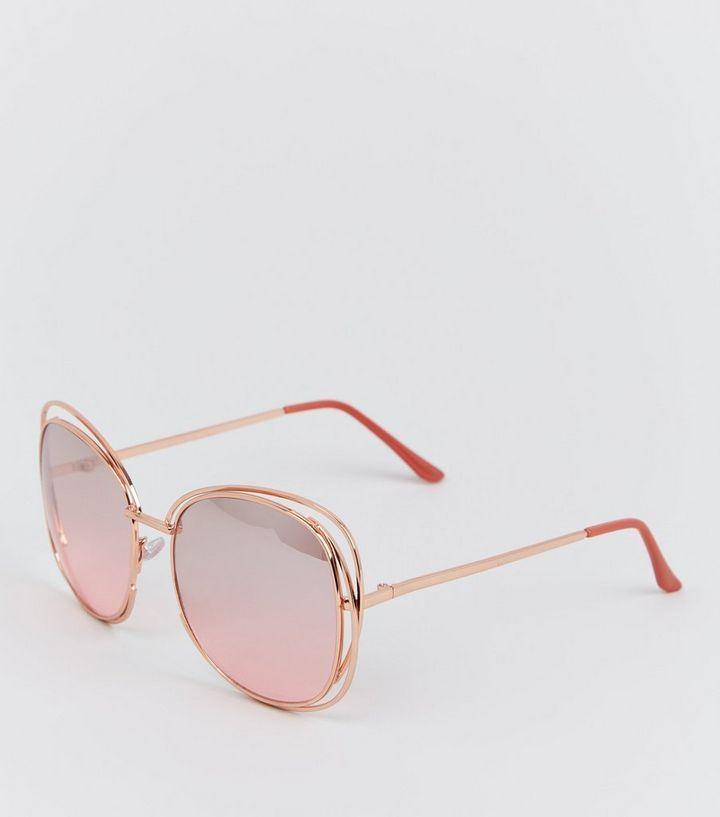 1ff8c2554c2d2 Rose Gold Rim Bar Sunglasses