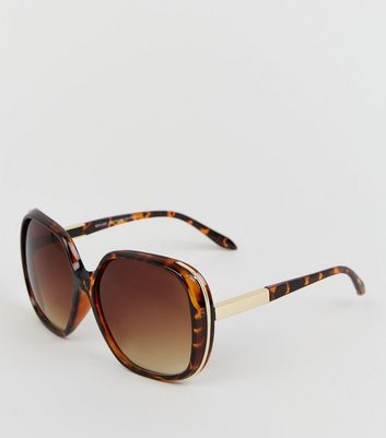 Dark Brown Faux Tortoiseshell Rectangular Sunglasses