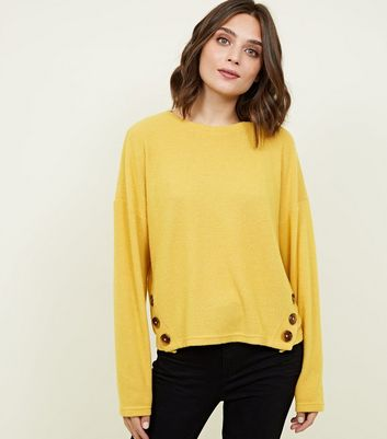 Mustard Brushed Rib Button Hem Jumper